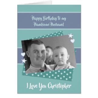 Husband personalized green Birthday photo カード