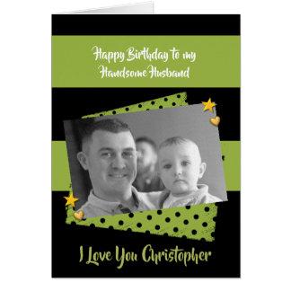 Husband personalized name Birthday photo カード