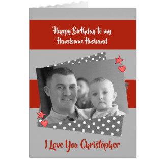 Husband personalized red & grey Birthday photo カード