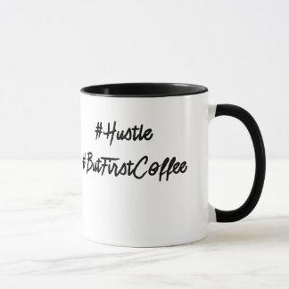 #Hustleの#ButFirstCoffeeのhashtagのコーヒー・マグ マグカップ