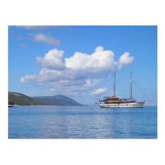 Hvar、クロアチアの海岸の船 はがき