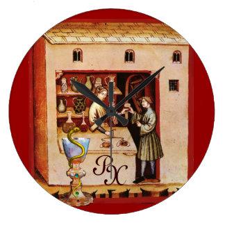 HYGEIAのモノグラムの薬、薬学のボール ラージ壁時計