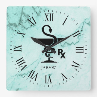Hygeniaの薬剤師のカスタムなイニシャルの大理石のボール スクエア壁時計