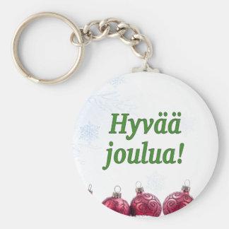 Hyvääのjoulua! フィンランドのgfのメリークリスマス ベーシック丸型缶キーホルダー