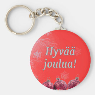 Hyvääのjoulua! フィンランドのwfのメリークリスマス ベーシック丸型缶キーホルダー