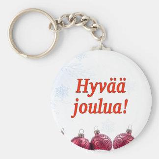 Hyvääのjoulua! フィンランドrfのメリークリスマス ベーシック丸型缶キーホルダー