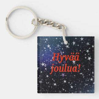 Hyvääのjoulua! フィンランドrfのメリークリスマス 正方形(片面)アクリル製キーホルダー