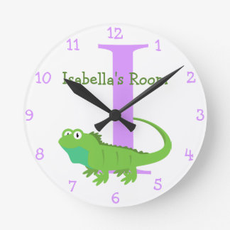 Iつはイグアナおよびイザベラ子供の寝室のためです ラウンド壁時計
