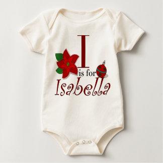 Iつはイザベラのベビーの初めてのクリスマスのTシャツのためです ベビーボディスーツ
