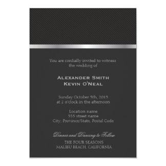 ıの招待状を結婚する2つの新郎ゲイ灰色ライン 12.7 x 17.8 インビテーションカード