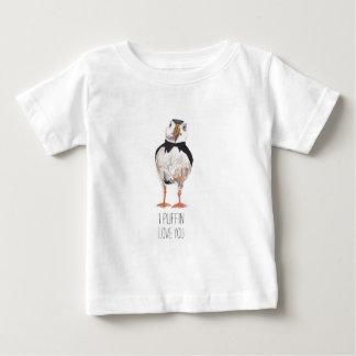 Iツノメドリ愛ツノメドリメッセージ ベビーTシャツ