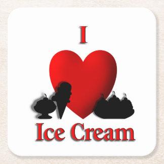 Iハートのアイスクリーム スクエアペーパーコースター