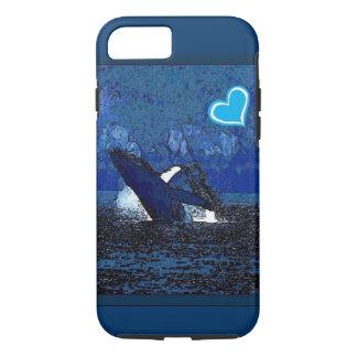 Iハートのクジラ青いiPhone 7の箱の宝物 iPhone 8/7ケース