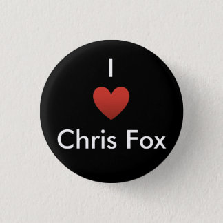 Iハートのクリスのキツネボタン[黒] 3.2CM 丸型バッジ