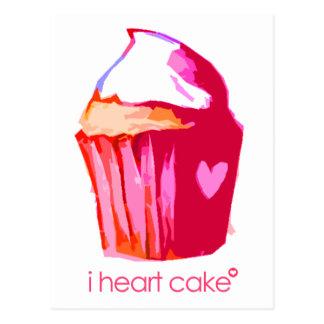 Iハートのケーキの郵便はがき(文字と) ポストカード