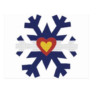 Iハートのコロラド州の旗の雪片 ポストカード