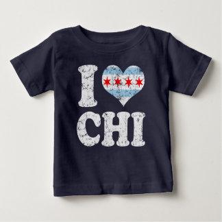 Iハートのシカゴの旗のキー ベビーTシャツ