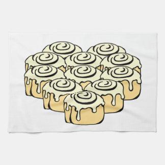 Iハートのシナモンロール甘い愛パンの漫画 キッチンタオル