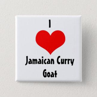 Iハートのジャマイカのカレーのヤギ 5.1CM 正方形バッジ