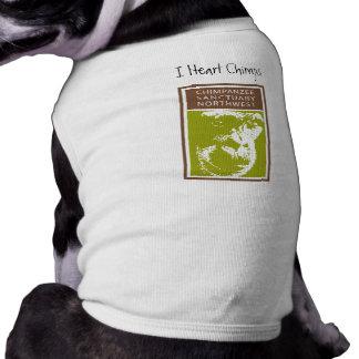 Iハートのチンパンジーの小犬のTシャツ ペット服