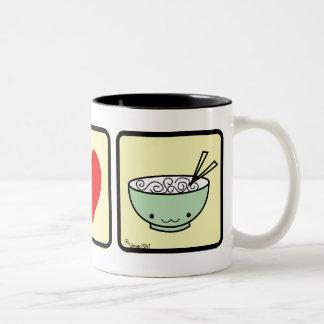 Iハートのヌードルのマグ(より多くのスタイル) ツートーンマグカップ