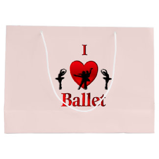 Iハートのバレエ ラージペーパーバッグ