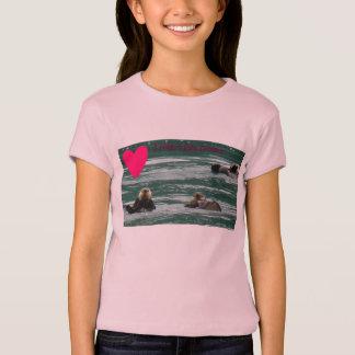 Iハートのラッコの女の子のベビードールのTシャツ Tシャツ
