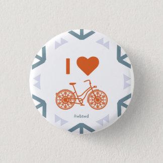 Iハートの冬のサイクリング-小さいPin 3.2cm 丸型バッジ