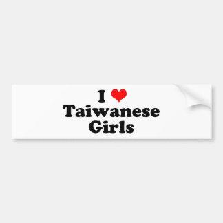Iハートの台湾人の女の子 バンパーステッカー
