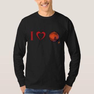Iハートの火星の人の長袖のTシャツ Tシャツ