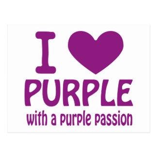 Iハートの紫色 ポストカード