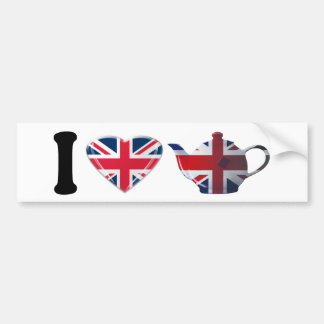 Iハートの英国の茶ギフト バンパーステッカー