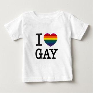 Iハートの陽気な虹のハート ベビーTシャツ