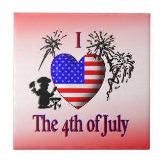 Iハートの7月4日かわいい米国の旗のセラミックタイル タイル