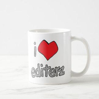 Iハートのediterzの白いコーヒー・マグ コーヒーマグカップ