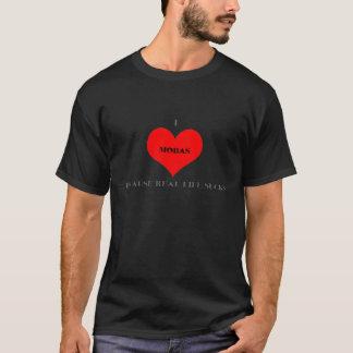Iハートのmobasのティーの黒 Tシャツ