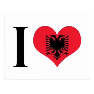 Iハートアルバニア- I愛アルバニア-アルバニアの旗 ポストカード
