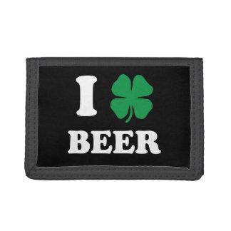 Iハートビール黒 ナイロン三つ折りウォレット