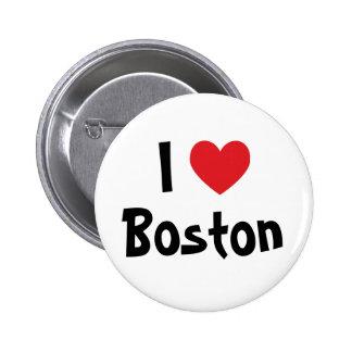Iハートボストン 5.7CM 丸型バッジ