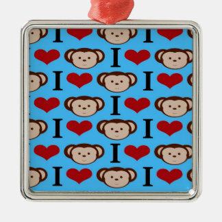 Iハート猿のターコイズのティール(緑がかった色)の青のバレンタイン メタルオーナメント