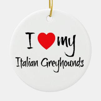 Iハート私のイタリアン・グレーハウンド犬 セラミックオーナメント