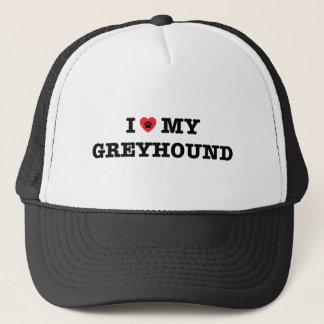 Iハート私のグレイハウンドのトラック運転手の帽子 キャップ