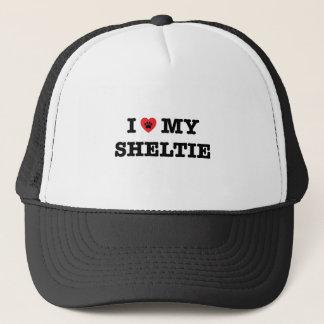 Iハート私のシェットランド・シープドッグのトラック運転手の帽子 キャップ