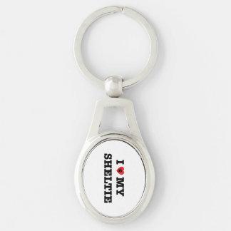 Iハート私のシェットランド・シープドッグの金属Keychain キーホルダー