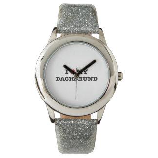 Iハート私のダックスフントの腕時計 腕時計