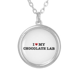 Iハート私のチョコレート実験室のネックレス シルバープレートネックレス