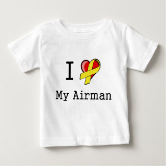Iハート私のパイロットの乳児のTシャツ ベビーTシャツ