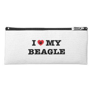 Iハート私のビーグル犬の筆箱 ペンシルケース