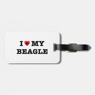 Iハート私のビーグル犬の荷物のラベル ラゲッジタグ