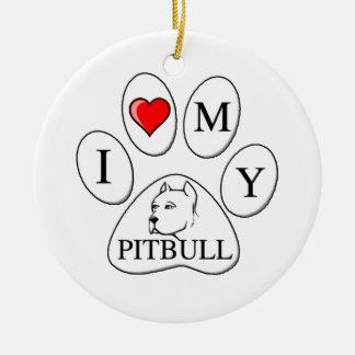 Iハート私のピット・ブルの足-犬、ペット、親友 セラミックオーナメント